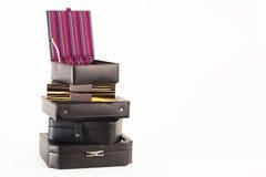 Boîtes de bijoux en cuir de luxe Images stock