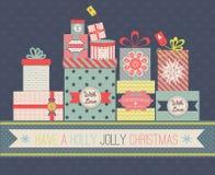Boîtes de cadeau de Noël de collection Photos stock