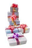 Boîtes de cadeaux de Noël d'isolement Photo libre de droits