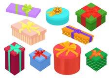 Boîtes de cadeaux isométriques de conception plate réglées Présent et boîte-cadeau lumineux et colorés avec des arcs de ruban Ann Photo libre de droits