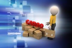 Boîtes de cargaison avec l'homme Image stock