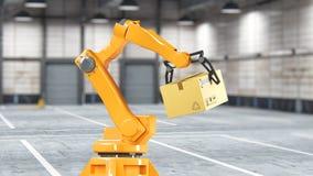 Boîtes de carton réglées et robot spécial de transport et machine hydraulique avec le bras de mécanicien employant pour emballer, illustration libre de droits