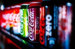 Boîtes de coca-cola, coke Image libre de droits