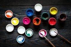 Boîtes de peinture Photos libres de droits