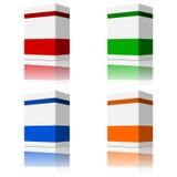 4 boîtes de produit empaquetant la couleur différente vierge Photos libres de droits