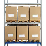 Boîtes de rayonnage d'entrepôt image libre de droits