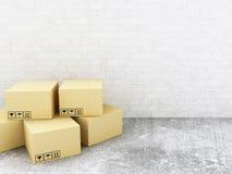 boîtes du carboard 3D blanc d'isolement par distribution de concept Photo stock