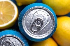 Boîtes en aluminium avec des fruits de citrons photographie stock
