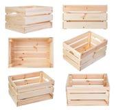 Boîtes en bois d'isolement sur le blanc Photo libre de droits