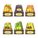Boîtes en bois de style plat mignon avec des fruits et légumes Photographie stock libre de droits