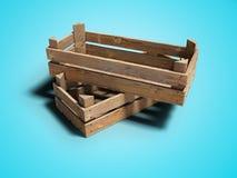 Boîtes en bois pour porter et stocker les produits 3d pour rendre sur le fond bleu avec l'ombre illustration stock