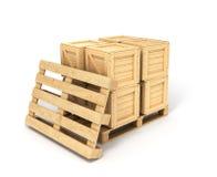 Boîtes en bois sur une palette image stock