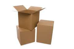 Boîtes en carton au-dessus d'un fond blanc Photos libres de droits