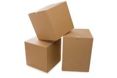 Boîtes en carton au-dessus d'un fond blanc photos stock