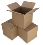 Boîtes en carton avec le chemin Photographie stock