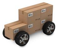 Boîtes en carton, concept de la distribution Photographie stock libre de droits