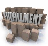 Boîtes en carton de réalisation embarquant des expéditions d'entrepôt d'ordres illustration stock