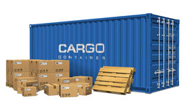 Boîtes en carton et conteneur de cargaison Photos libres de droits