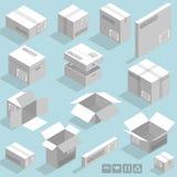 Boîtes en carton isométriques de vecteur Photos libres de droits
