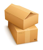 Boîtes en carton pour la distribution du courrier Photographie stock libre de droits