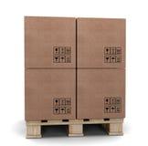 Boîtes en carton sur une palette. Photos stock