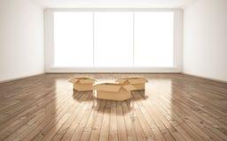 Boîtes en carton vides dans la chambre Image libre de droits
