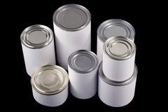 Boîtes en fer blanc blanches ordinaires Photos libres de droits