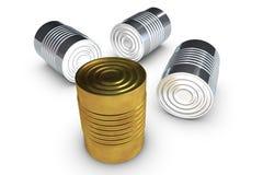 Boîtes en fer blanc d'or illustration de vecteur