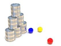 Boîtes en fer blanc et trois boules Vue de côté 3d illustration libre de droits