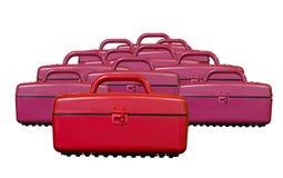 Boîtes en plastique rouges de refroidisseur de vintage sur le blanc Photo libre de droits