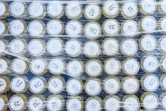 Boîtes enveloppées en plastique, fond abstrait photographie stock
