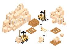Boîtes et barils isométriques de charge d'entrepôt aux piles utilisant des chariots élévateurs illustration libre de droits