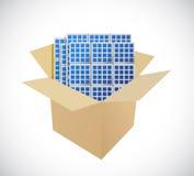 Boîtes et conception d'illustration de panneaux solaires illustration libre de droits