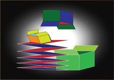Boîtes et illustration de carton Photos stock