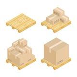Boîtes et palettes en carton isométriques illustration de vecteur