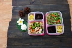 Boîtes faites maison de nourriture propre, préparation de repas pour l'alimentation saine photos stock