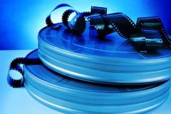 Boîtes métalliques de bobine de film et de pellicule cinématographique Photographie stock