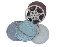 Boîtes métalliques de home cinéma de vintage avec le film images stock