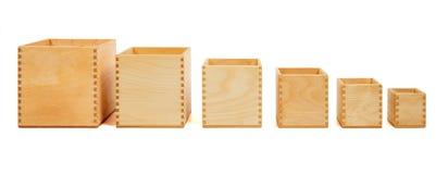Boîtes ouvertes en bois Photo stock