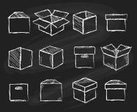 Boîtes sur le panneau de craie illustration stock