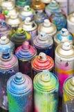 Boîtes utilisées de peinture de jet Photographie stock libre de droits