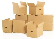 Boîtes vides et fermées sur le fond blanc Photographie stock
