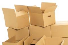 Boîtes vides et fermées sur le fond blanc Photos stock