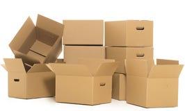 Boîtes vides et fermées sur le fond blanc Photographie stock libre de droits