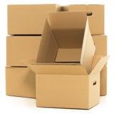 Boîtes vides et fermées sur le fond blanc Image stock
