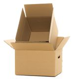 Boîtes vides et fermées sur le fond blanc Photo libre de droits