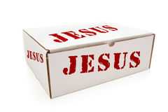 Boîtier blanc avec Jésus des côtés d'isolement Photographie stock