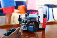 Boîtier imperméable à l'eau d'appareil-photo Image libre de droits