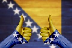 Bośnia i Herzegovina zaznaczamy malujemy na żeńskich ręk aprobatach Obrazy Stock