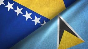 Bośnia Lucia, Herzegovina i święty dwa flagi tekstylny płótno, tkaniny tekstura ilustracja wektor